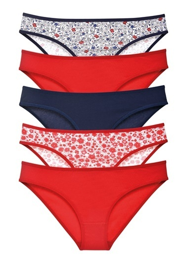 Sensu Kadın Basic Külot Karışık Renkler 5 Li Paket 1001 Renkli
